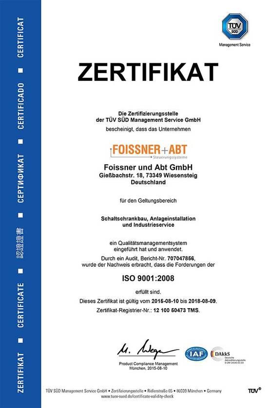 Zertifikat Foissner und Abt GmbH nach ISO 9001:2008